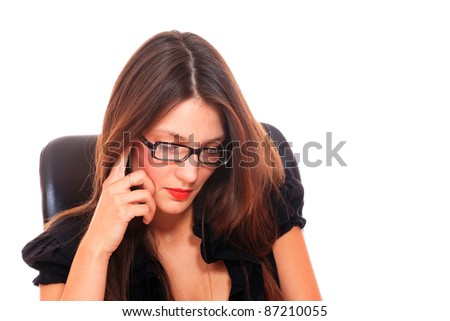 business woman wearing glasses . Isolated over white background