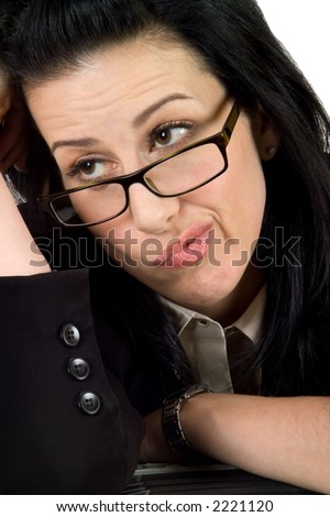 Business woman wearing glasses thinking or wondering - stock photo