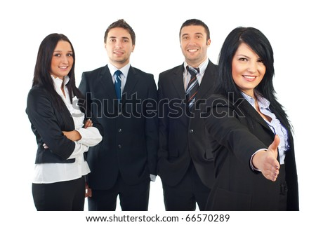 Business woman welcome sign hand gesture and together with her team ainvite you to join their business isolated on white background