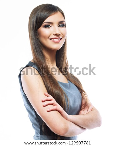 Business woman  white background isolated. female business model with long hair . smiling young business woman