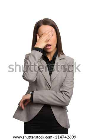 Business woman who forgot something - stock photo