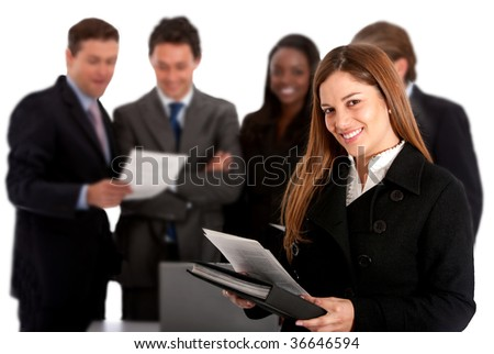 Business woman with a group isolated over white