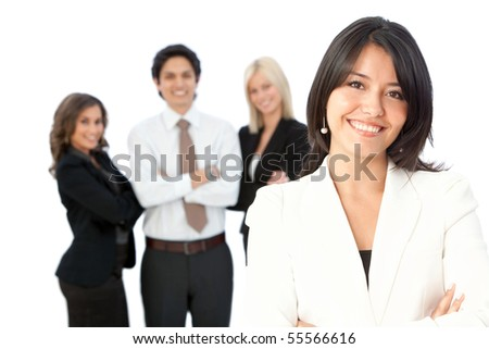 business woman with a group - isolated over white background - stock photo