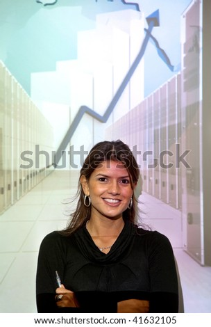 Business woman with a growth graph smiling - stock photo