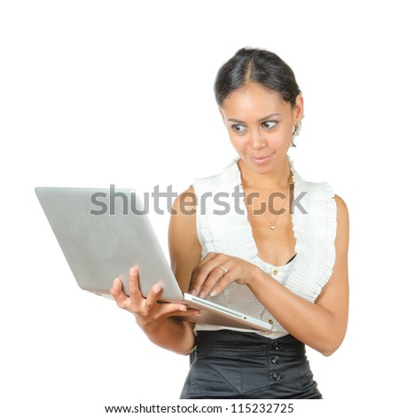 business woman with a laptop isolated on white background