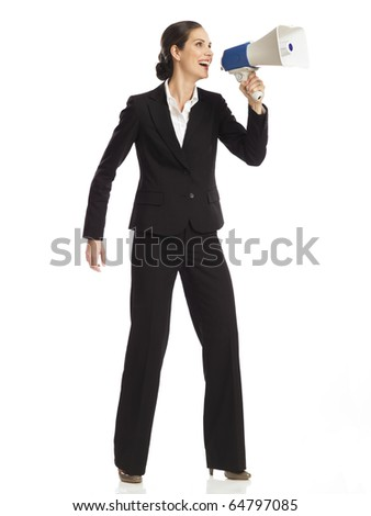 Business woman with a megaphone - stock photo