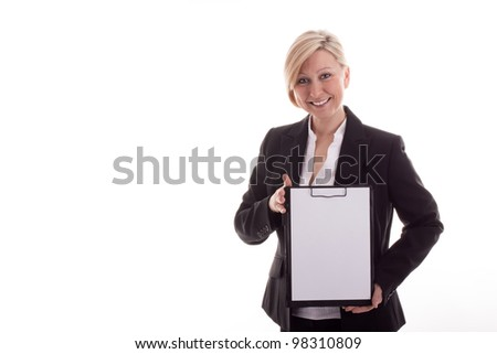 Business woman with a notepad - stock photo