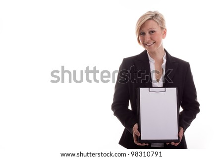 Business woman with a notepad unwritten - stock photo
