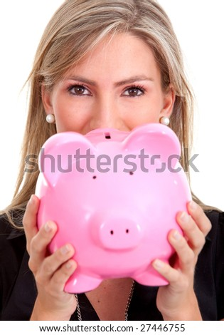 business woman with a piggy bank isolated