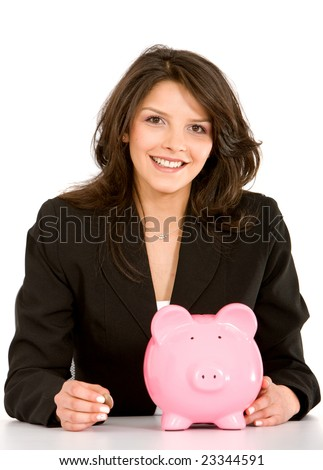 business woman with a piggy bank isolated on white