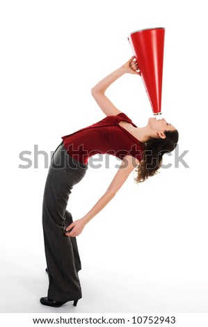 business woman with a red megaphone on white - stock photo