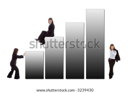 business woman with a sales graphic isolated on white - stock photo