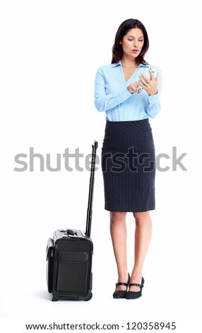 Business woman with a suitcase isolated on white background. - stock photo