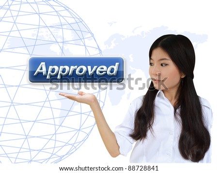 Business woman with approved button - stock photo