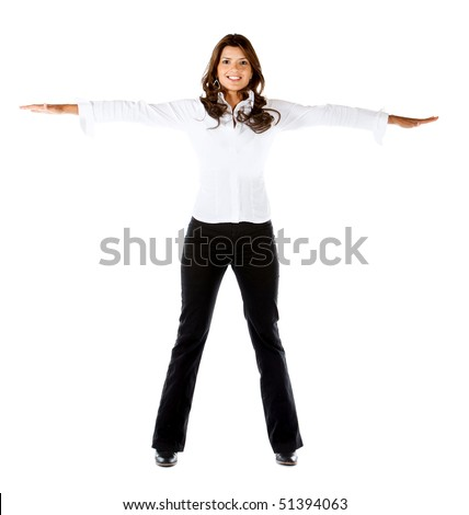 Business woman with arms outstretched isolated over a white background - stock photo