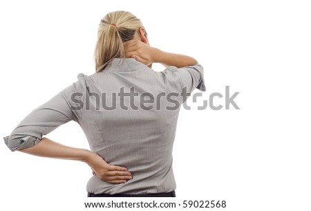 Business woman with back pain isolated over white background - stock photo