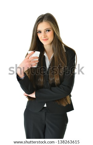 Business Woman with Beverage (3/4 view) - stock photo