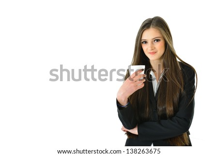 Business Woman with Beverage (1/2 view) - stock photo