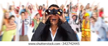 Business woman with binoculars. Job search concept background. - stock photo