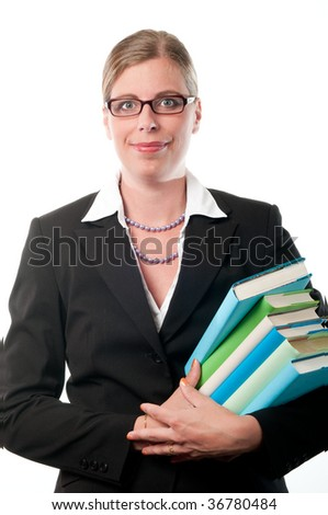 Business woman with books on white background - stock photo