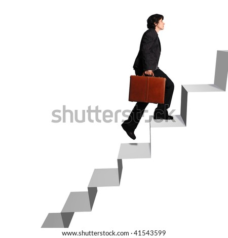 business woman with briefcase ascending stairs against white background - stock photo