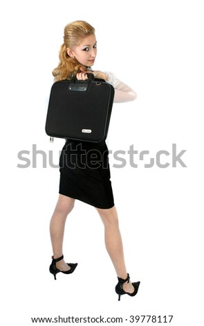 business woman with briefcase in hand - stock photo