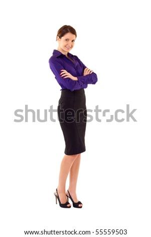 business woman with brown hair is standing. Isolated over white background. - stock photo
