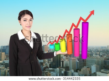 Business woman with business graph with city background