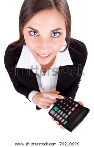 business woman with calculator, over white background - stock photo