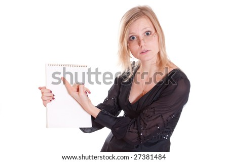 Business woman with clean notebook isolated