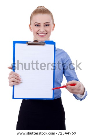 business woman with clipboard and pen on a white background - stock photo