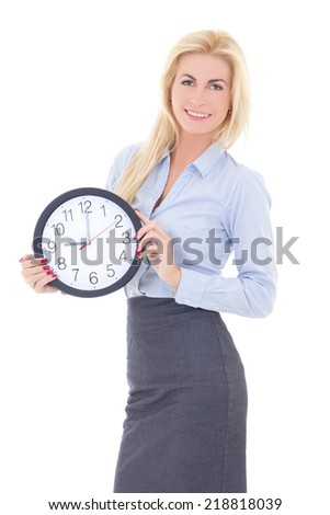 business woman with clock isolated on white background