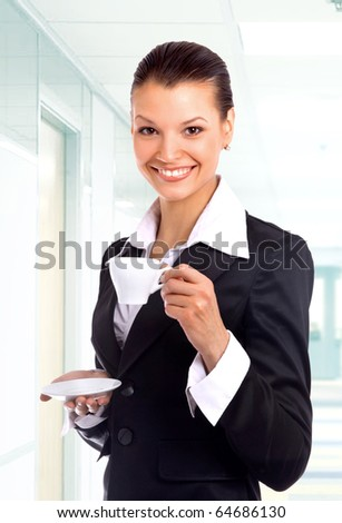 business woman with cup of coffee - stock photo