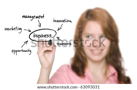 Business woman with diagram - stock photo