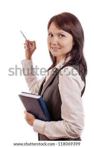 Business woman with diary in hand, shows with a pen somewhere, isolated on white background - stock photo
