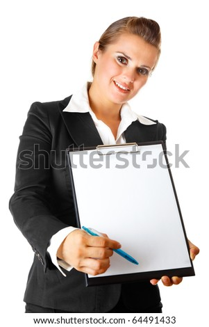 business woman with documents and pen for your signing