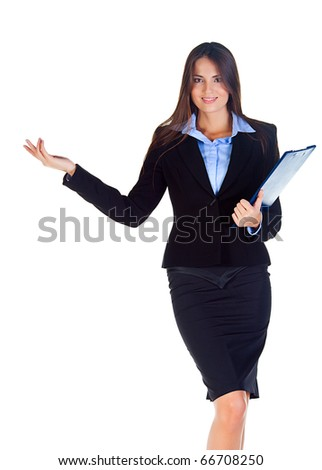 business woman with documents with a white background