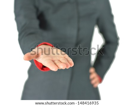 Business woman with empty hand, asking for, on white background