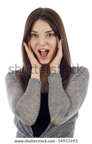 Business woman with expression and covering her ears, I hear no evil isolated over white - stock photo