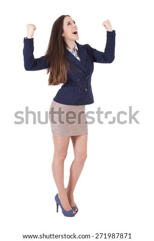 business woman with expression of success - stock photo