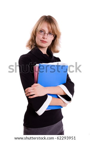 Business woman with files. - stock photo
