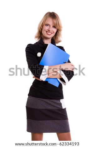 Business woman with files.