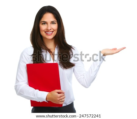 Business woman with folder presenting isolated on white background. - stock photo
