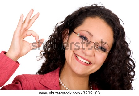 Business woman with glasses doing the ok sign - isolated over a white background - stock photo