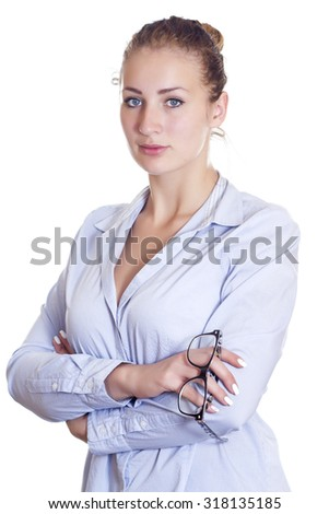Business woman with glasses isolated on white background - stock photo