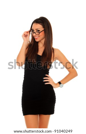 business woman with glasses smiling - isolated over white - stock photo