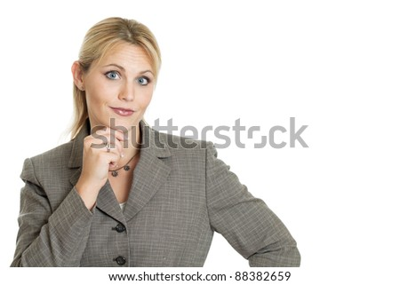 Business woman with hand on chin isolated on a white background - stock photo