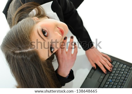 Business Woman with Hand on Laptop - stock photo