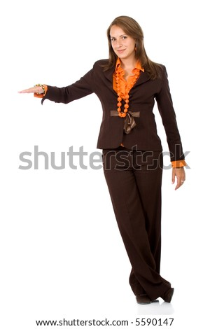 business woman with hand on something over a white background