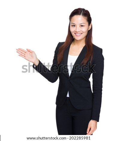 Business woman with hand present